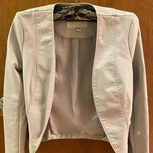 Light grey faux leather blazer